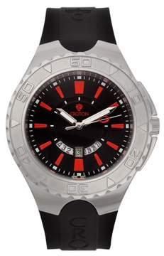 Croton Men's Super C Quartz Watch with Black Dial & Red Markers & Silicon Strap