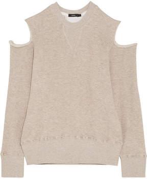 Bassike Cold-shoulder Cotton-blend Sweatshirt - Beige