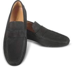 Moreschi Portofino - Black Perforated Suede Driver Shoes