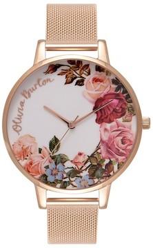 Olivia Burton Women's English Garden Mesh Strap Watch, 38Mm