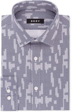 DKNY Men's Slim-Fit Navy White Print Dress Shirt, Created for Macy's