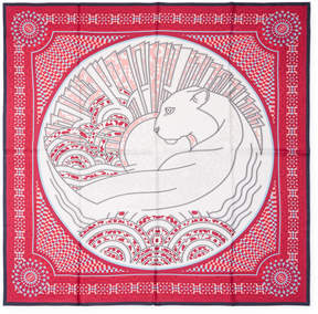 Cartier Women's Vintage Red Panther Silk Scarf, 34 x 34