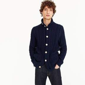 J.Crew Cotton mockneck cardigan sweater in navy