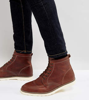 Asos Wide Fit Lace Up Boots In Brown Leather With White Sole