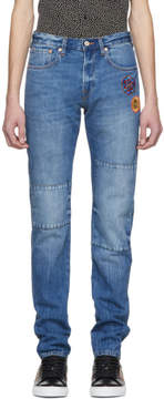 Paul Smith Blue Embroidered Slim Standard Fit Jeans