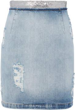 IRO Sequin-Embellished Denim Pencil Skirt