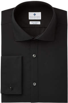Ryan Seacrest Distinction Men's Slim-Fit Stretch Non-Iron Black French Cuff Dress Shirt, Created for Macy's