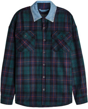Fear Of God Plaid Wool Shirt with Denim Collar