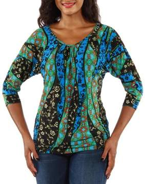 24/7 Comfort Apparel Women's Teal Abstract Mosaic Tunic