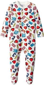 Moschino Kids All Over Logo Heart Print Footie Girl's Jumpsuit & Rompers One Piece