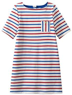 Petit Bateau GIRLS HEAVYWEIGHT JERSEY DRESS IN THREE-COLOR STRIPEDS