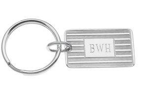Asstd National Brand Personalized Rectangular Silvertone Key Ring