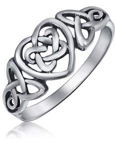 Celtic Bling Jewelry Sterling Silver Irish Knots Heart Promise Ring.