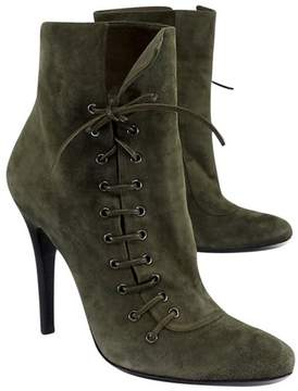 Barbara Bui Olive Green Suede Lace Up Ankle Boots
