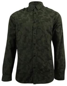 GUESS Men's Camo-Print Jacquard Shirt (L, Loden)