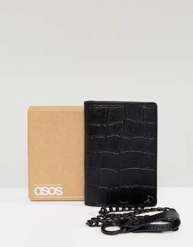 Asos Leather Wallet In Black Crocodile Emboss With Chain