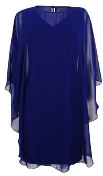 Vince Camuto Women's Chiffon Fall Over Cape & Sheath Dress (Navy, 2)