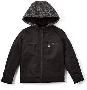 Urban Republic Black & Faux Sherpa Ballistic Officers Jacket - Boys