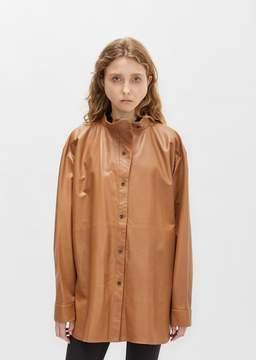 Dusan Dušan Leather Stand Collar Shirt Hazelnut