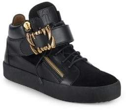 Giuseppe Zanotti Fanged Strap Leather Sneakers