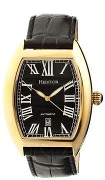 Heritor Redmond Black Dial Black Leather Gold-tone Case Men's Watch