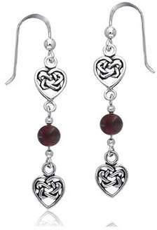 Celtic Bling Jewelry .925 Silver Garnet Knots Double Heart Drop Earrings.