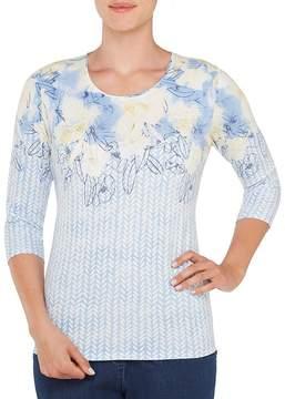 Allison Daley Embellished Crew-Neck Floral Speck Print Knit Top