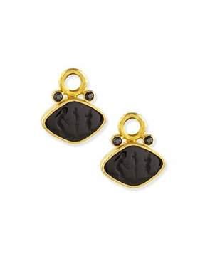 Elizabeth Locke Rombo Intaglio Earring Pendants, Black