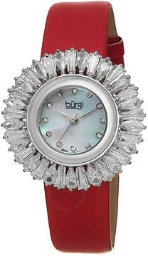 Burgi Red Baguette Crystal Bezel Mother of Pearl Dial Ladies Watch