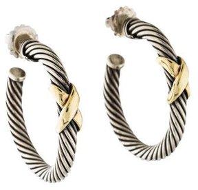 David Yurman Cable X Hoop Earrings