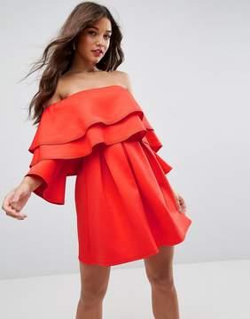 Asos Long Sleeve Ruffle Off Shoulder Mini Dress