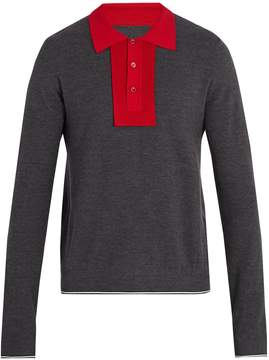 Maison Margiela Contrast-collar wool and cotton-blend polo shirt