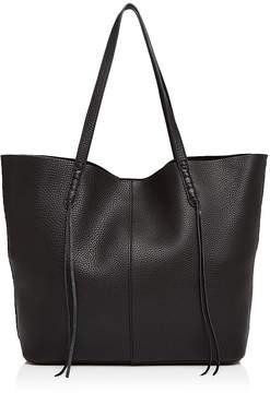 Rebecca Minkoff Unlined Whipstitch Medium Pebbled Leather Tote - BLACK/SILVER - STYLE