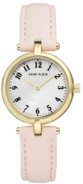 Anne Klein Goldtone Mother-of-Pearl Dial Pink Faux Leather Strap Watch