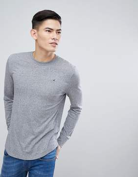 Hollister Long Sleeve Top Crew Icon Logo Slim Fit in Gray