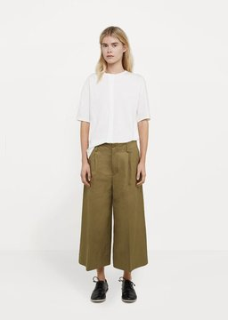 08sircus Cotton Linen Wide Cropped Pant Olive Size: JP 0