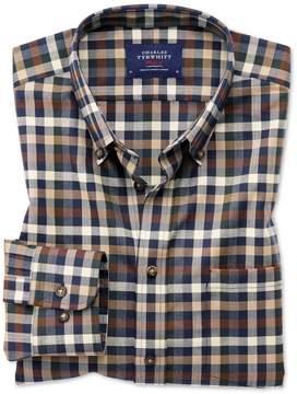 Charles Tyrwhitt Slim Fit Button-Down Non-Iron Twill Brown Multi Check Cotton Casual Shirt Single Cuff Size XS