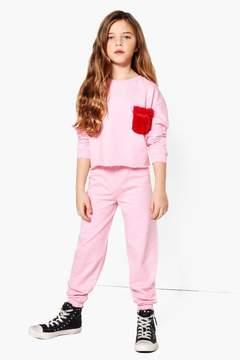boohoo Girls Faux Fur Pocket Top & Jogger Set