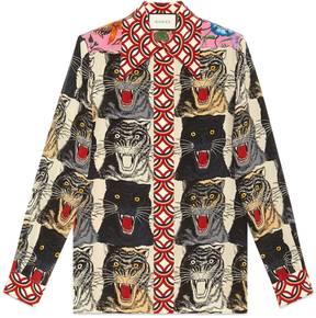Tiger Face print silk shirt