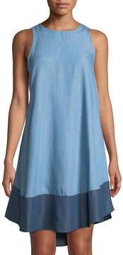 Chelsea & Theodore Sleeveless Chambray Tunic Dress w/ Contrast Hem
