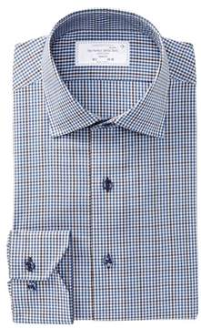 Lorenzo Uomo Boxed Gingham Trim Fit Dress Shirt