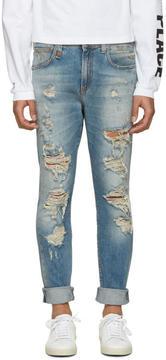 R 13 Blue Distressed Skate Jeans