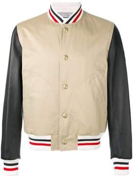 Moncler Gamme Bleu striped detail bomber jacket