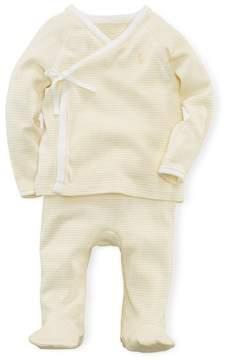 Ralph Lauren | Cotton Kimono Top Pant Set | 6-12 months | French yellow multi