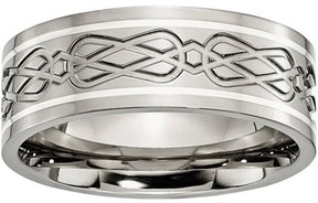 Celtic Primal Steel Titanium Sterling Silver Inlay Knot Flat 8mm Polished Band