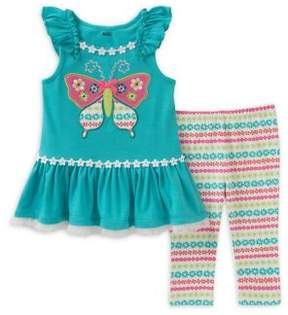 Kids Headquarters Little Girl's Two-Piece Butterfly Tunic and Leggings Set