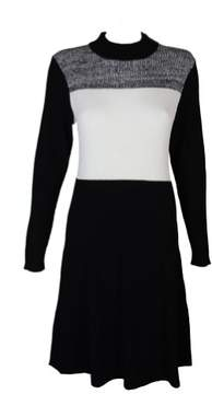 Calvin Klein Plus Size Black White Colorblocked Sweater Dress 0X