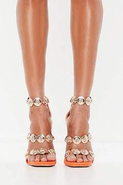 Missguided Orange Embellished Three Strap Heeled Sandals