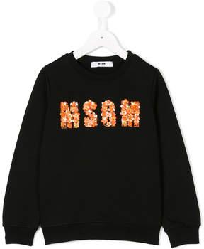 MSGM floral embellished logo sweatshirt