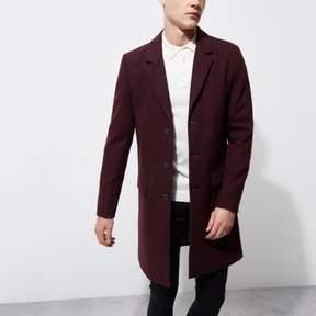 River Island Mens Dark red smart overcoat